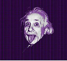 Albert Einstein Portrait pulling tongue and purple text background  by yin888
