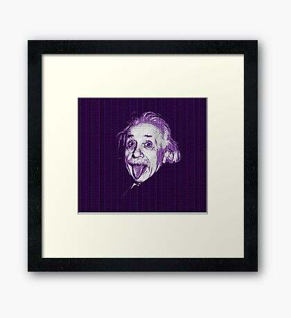 Albert Einstein Portrait pulling tongue and purple text background  Framed Print