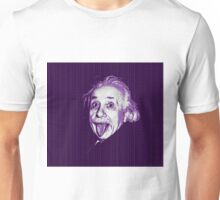 Albert Einstein Portrait pulling tongue and purple text background  Unisex T-Shirt