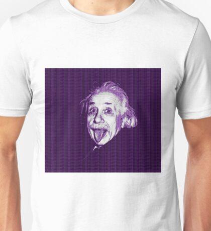 Albert Einstein Portrait pulling tongue and purple text background  Unisex T-Shirt