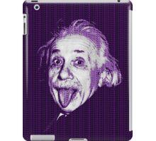 Albert Einstein Portrait pulling tongue and purple text background  iPad Case/Skin