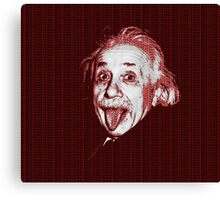 Albert Einstein Portrait pulling tongue and red text background  Canvas Print