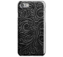 Black Tooled Leather Floral Scrollwork Design iPhone Case/Skin