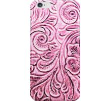 Pink Tooled Leather Floral Scrollwork Design iPhone Case/Skin