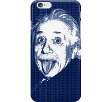 Albert Einstein Portrait pulling tongue and blue  text background  iPhone Case/Skin