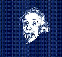 Albert Einstein Portrait pulling tongue and blue  text background  by yin888