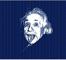 Albert Einstein Portrait pulling tongue and blue  text background  Photographic Print
