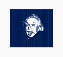 Albert Einstein Portrait pulling tongue and blue  text background  Unisex T-Shirt