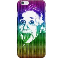 Albert Einstein Portrait pulling tongue and multicolour text background  iPhone Case/Skin