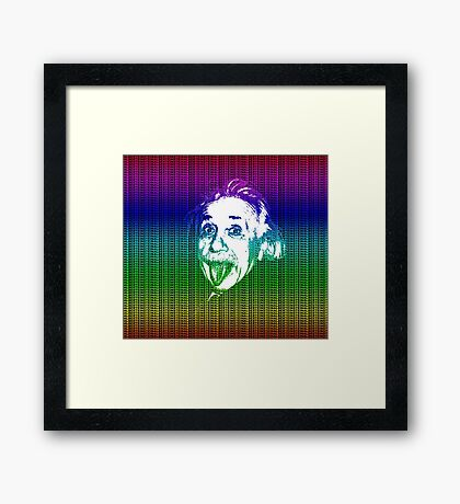 Albert Einstein Portrait pulling tongue and multicolour text background  Framed Print