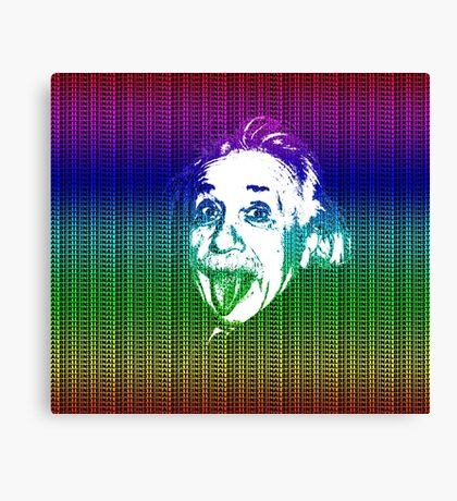 Albert Einstein Portrait pulling tongue and multicolour text background  Canvas Print