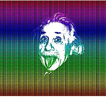 Albert Einstein Portrait pulling tongue and multicolour text background  Photographic Print
