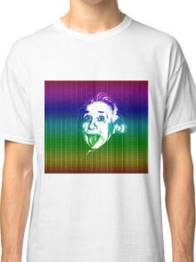 Albert Einstein Portrait pulling tongue and multicolour text background  Classic T-Shirt