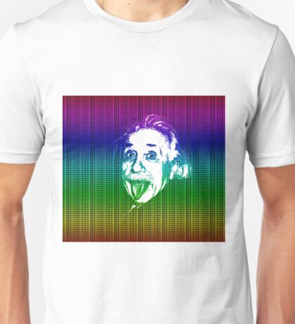 Albert Einstein Portrait pulling tongue and multicolour text background  Unisex T-Shirt