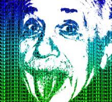 Albert Einstein Portrait pulling tongue and multicolour text background  Sticker