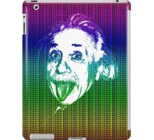 Albert Einstein Portrait pulling tongue and multicolour text background  iPad Case/Skin