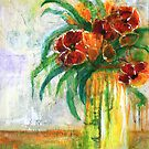 Red Flowers in White Vase by Christine Clarke
