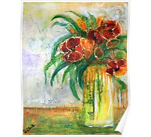 Red Flowers in White Vase Poster
