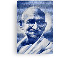 Mahatma Gandhi portrait with blue background  Metal Print