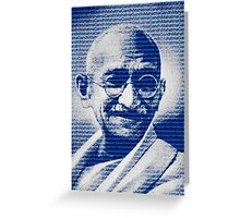 Mahatma Gandhi portrait with blue background  Greeting Card