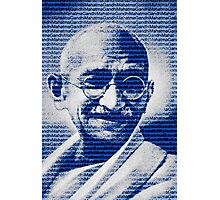 Mahatma Gandhi portrait with blue background  Photographic Print