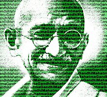 Mahatma Gandhi portrait with green  background  by yin888
