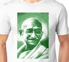 Mahatma Gandhi portrait with green  background  Unisex T-Shirt