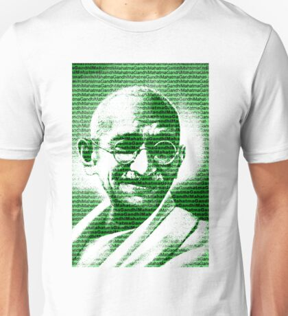 Mahatma Gandhi portrait with green  background  Unisex T-Shirt