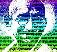 Mahatma Gandhi portrait with multicolour background  by yin888