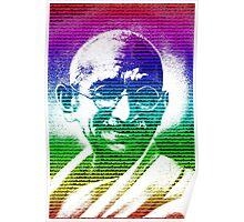 Mahatma Gandhi portrait with multicolour background  Poster