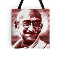 Mahatma Gandhi portrait with red background  Tote Bag