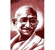 Mahatma Gandhi portrait with red background  Photographic Print
