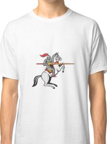 Knight Lance Steed Prancing Isolated Cartoon Classic T-Shirt