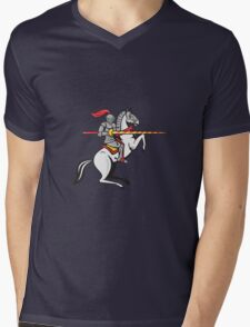 Knight Lance Steed Prancing Isolated Cartoon T-Shirt