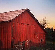 Rustic red barn at dusk by JULIENICOLEWEBB