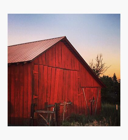 Rustic red barn at dusk Photographic Print