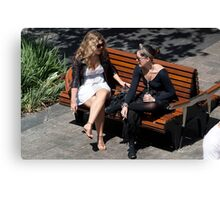girls on a bench Canvas Print