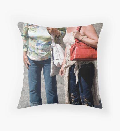 two women talking Throw Pillow