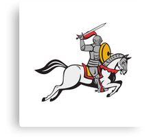 Knight Sword Shield Steed Attacking Cartoon Canvas Print