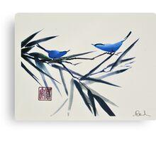 Blue Birds on Branch Canvas Print