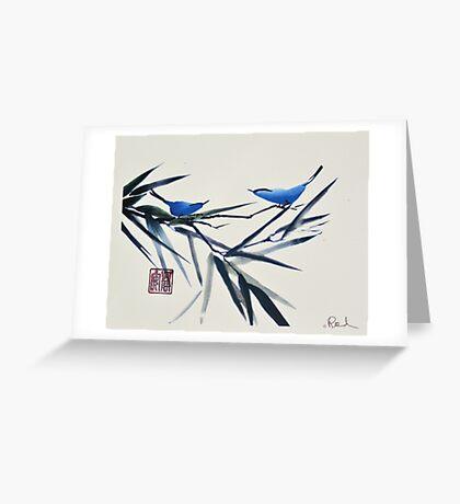 Blue Birds on Branch Greeting Card