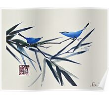 Blue Birds on Branch Poster