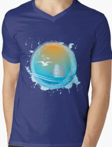 Abstract seaside landscape Mens V-Neck T-Shirt