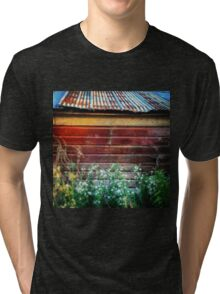 Rusty tin roof on a red barn  Tri-blend T-Shirt