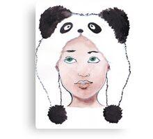Girl in Panda Hat Canvas Print