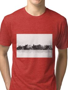 Madison, Wisconson Skyline - Black and White Tri-blend T-Shirt