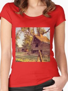 Rustic abandoned red barn at sunset Women's Fitted Scoop T-Shirt