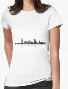 Milwaukee, Wisconson Skyline - Black and White Womens Fitted T-Shirt