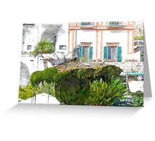 Amalfi: pigeons on fountain Greeting Card