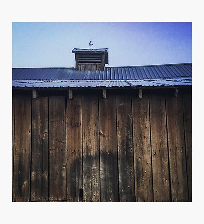 Rustic side of barn with tin roof Photographic Print